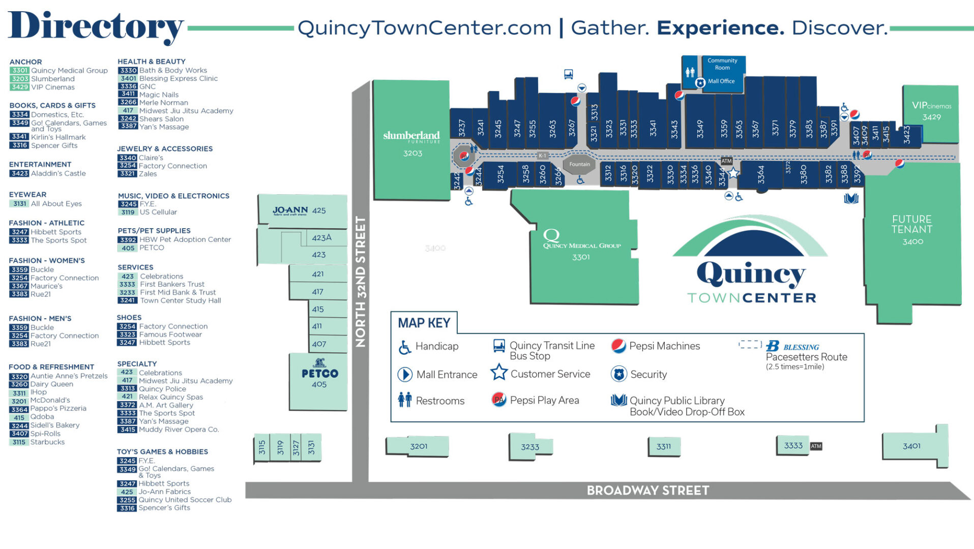 Quincy Town Center Directory Map